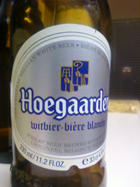 "hoegaarden original white ale - it's actually sadly pronounced ""who-garden"""