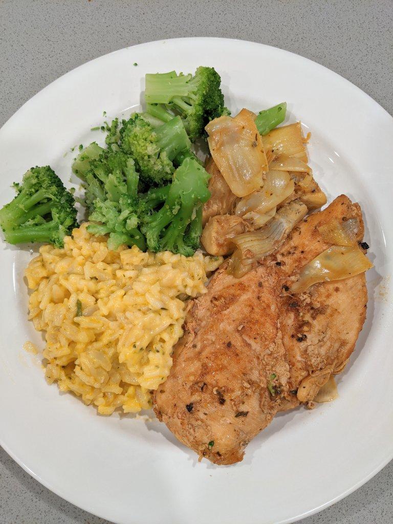 Lemon artichoke chicken with cheddar broccoli rice and broccoli